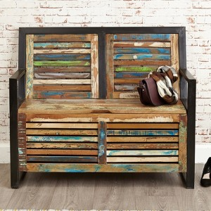 Urban Chic Wooden Storage Hallway Bench With Shoe Storage