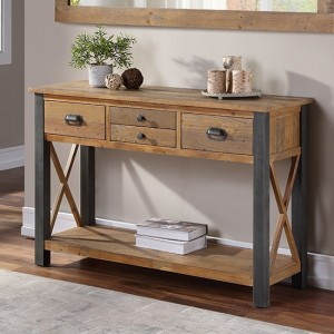Urban Elegance Wooden Console Table In Reclaimed Wood