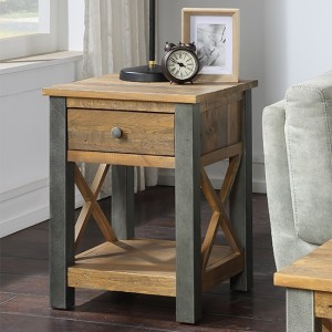 Urban Elegance Wooden Lamp Table With Drawer In Reclaimed Wood