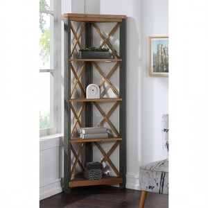 Urban Elegance Wooden Large Corner Bookcase In Reclaimed Wood