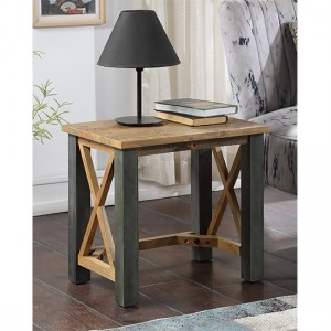 Urban Elegance Wooden Open Front Lamp Table In Reclaimed Wood
