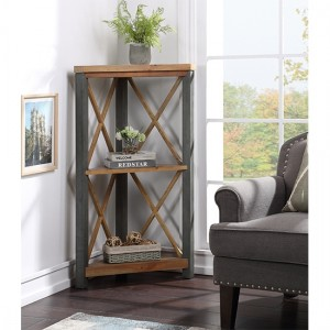 Urban Elegance Wooden Small Corner Bookcase In Reclaimed Wood