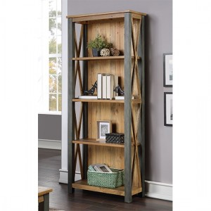 Urban Elegance Wooden Tall bookcase In Reclaimed Wood