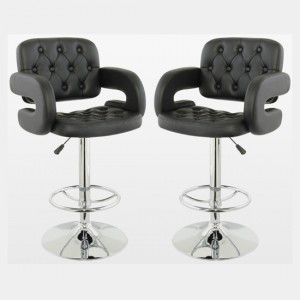 Utah Black Faux Leather Bar Stools With Chrome Metal Base In Pair