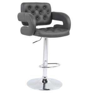 Utah Faux Leather Bar Stool In Grey With Chrome Metal Base
