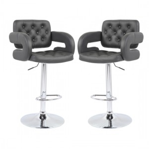 Utah Grey Faux Leather Bar Stools With Chrome Metal Base In Pair