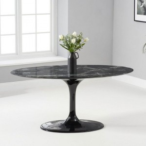 Celine Oval Marble Table In Black Gloss With Pedestal Base