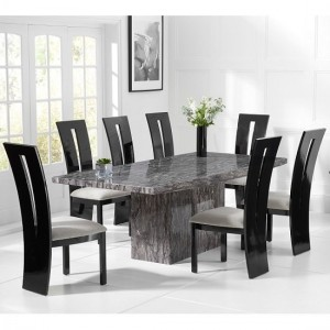 Venezia Marble Dining Table In Grey With 6 Arizona Grey Chairs