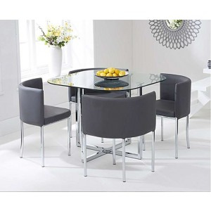 Charisma Stowaway Dining Set With 4 Grey Dining Chairs