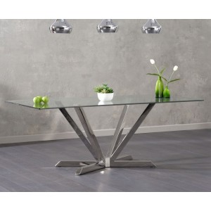 Danetti Rectangular Glass Dining Table With Stainless Steel Legs