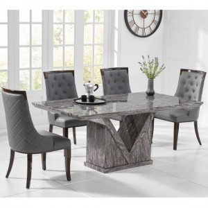 Mocha Large Grey Marble Dining Table With Six Adira Chairs