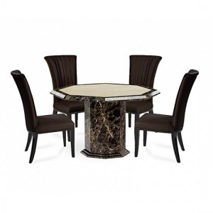 Tenore Marble Octagonal Dining Table With 4 Horizon Brown Chairs