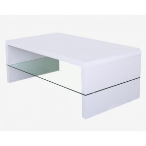 Vala Wooden Coffee Table In White High Gloss With Glass Shelf
