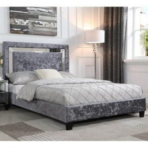 Stella Double Bed In Crushed Velvet Silver With Mirror Edge