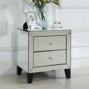 Stella Mirrored Bedside Cabinet With 2 Drawers