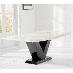 Valencie 200cm Marble Rectangular Dining Table In White
