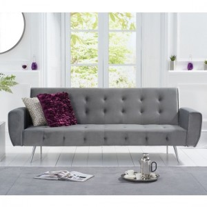 Valentina Fabric Upholstered Sofa Bed In Grey