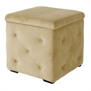 Valentina Fabric Upholstered Storage Stool In Beige
