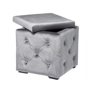 Valentina Fabric Upholstered Storage Stool In Silver