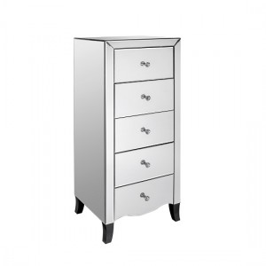Valentina Tall Mirrored Wooden Chest Of Drawers With 5 Drawers