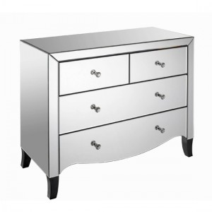 Valentina Wooden Chest Of Drawers In Mirrored With 4 Drawers