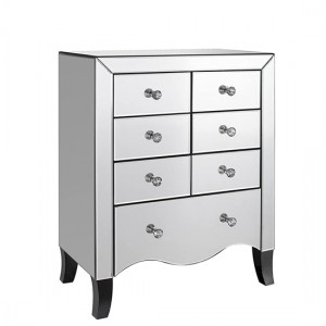 Valentina Wooden Chest Of Drawers In Mirrored With 7 Drawers