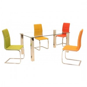 Valita Clear Glass Dining Set With Stainless Steel Legs And 4 Chairs
