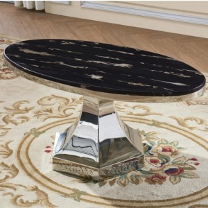 Vasto Black Marble Coffee Table With Polished Stainless Steel Base