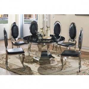 Vasto Black Marble Dining Set With 6 Chairs