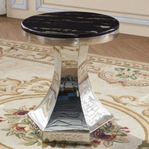 Vasto Round Lamp Table In Black Marble Effect With Stainless Steel Base