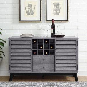 Vaughn Wooden Wine Cabinet In Grey Oak
