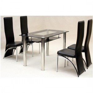 Vegas Small Black Border Glass Dining Set With 4 Durban Chairs