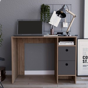 Vegas Wooden Computer Desk With Two Drawers In Bleached Oak Effect