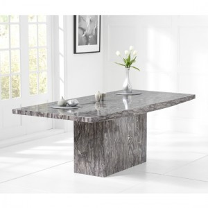 Venezia Large Rectangular Marble Dining Table In Grey