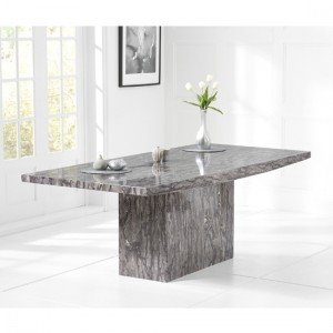 Venezia Rectangular Marble Dining Table In Grey