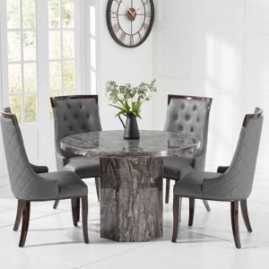 Venezia Round Marble Dining Table In With 4 Grey Rome Chairs