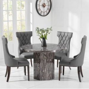 Venezia Round Marble Dining Table In With 4 Rome Grey Chairs