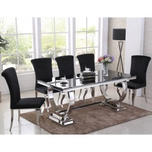 Venice Black Glass Dining Table With 6 Liyana Black Chairs