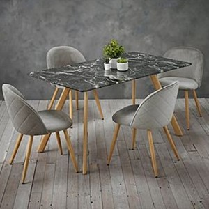 Venice Black Marble Effect Wooden Dining Set With 4 Grey Chairs