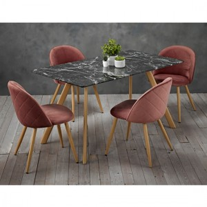 Venice Black Marble Effect Wooden Dining Set With 4 Pink Chairs