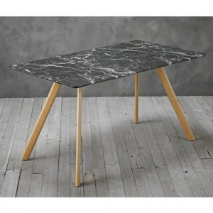 Venice Black Marble Effect Wooden Dining Table With Gold Legs