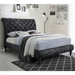 Venice Velvet Upholstered King Size Bed In Black