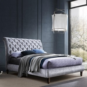 Venice Velvet Upholstered King Size Bed In Grey