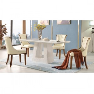 Venice White Marble Dining Set With 4 PU Wooden Chairs