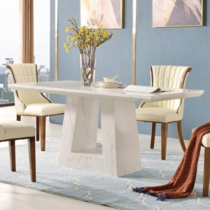 Venice White Marble Dining Table with Marble Base
