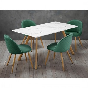 Venice White Marble Effect Wooden Dining Set With 4 Green Chairs