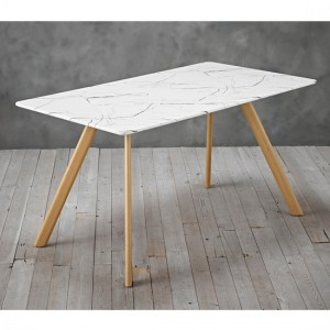 Venice White Marble Effect Wooden Dining Table With Gold Legs
