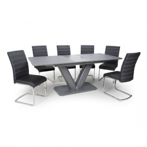 Venus Extra Large Extendable Grey Tempered Glass Dining Table With 4 Callisto Leather Black Dining Chairs