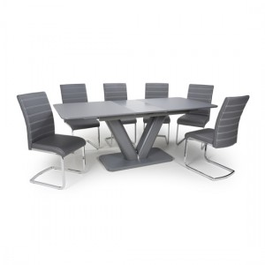 Venus Extra Large Extendable Grey Tempered Glass Dining Table With 4 Callisto Leather Grey Dining Chairs
