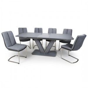 Venus Extra Large Extendable Grey Tempered Glass Dining Table With 6 Triton Linen Light Grey Dining Chairs